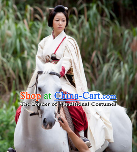 Chinese Female General White Hanfu Cloak Dress Gown Costumes Ancient Costume Clothing Complete Set