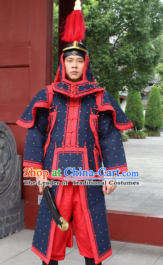 Deep Blue Chinese Qing Dynasty General White Armor Hanfu Dress Gown Costumes Ancient Costume Clothing Complete Set