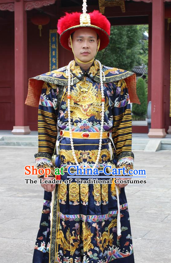 Chinese Classical Qing Dynasty Emperor Hanfu Dress Gown Costumes Ancient Costume Clothing Complete Set