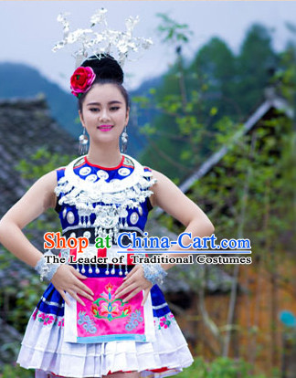 Chinese Classical Miao Silver Dance Costume and Headpieces Complete Set