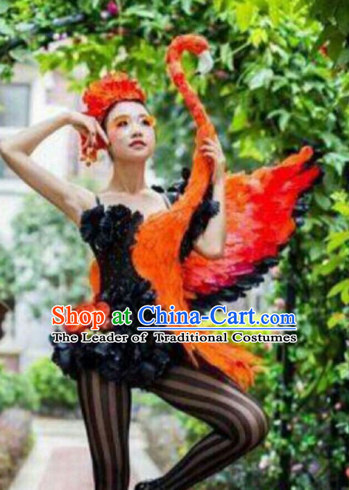 c5afe87f34931 Parade Quality Forest Dance Costumes Popular Ostrich Feathers Fancy Bird  Costume Stage Costumes Angel Wings Costume Complete Set