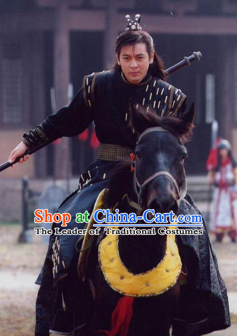 Black Chinese Men Knight Costume Stage Drama Costumes Parade Costume Complete Set