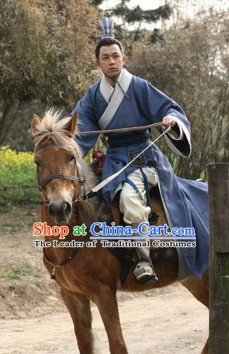 Blue Chinese Men Knight Costume Stage Drama Costumes Parade Costume Complete Set