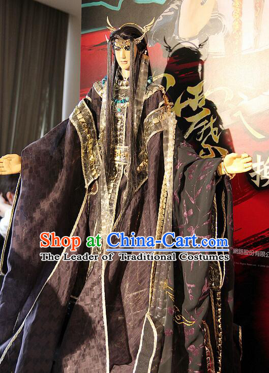 Chinese Ancient Puppet Costumes Adult Size Dresses and Headwear Complete Set for Men