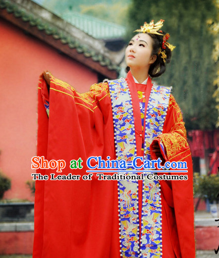Ancient Chinese Princess Ming Dynasty Wedding Dresses Traditional Royal Stage Hanfu Classical Dress National Costumes Clothing and Hair Jewelry Complete Set