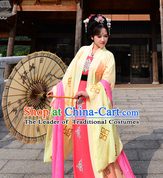 Ancient Chinese Royal Tang Dynasty Dresses Hanfu Classical Dress National Ceremonial Costumes Clothing and Headpieces Complete Set