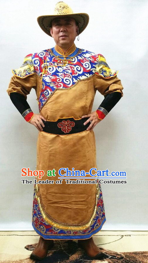 Mongolian Minority Mongol Dress Mongolia Minority Dresses Ethnic Mongolian Costume Complete Set for Men