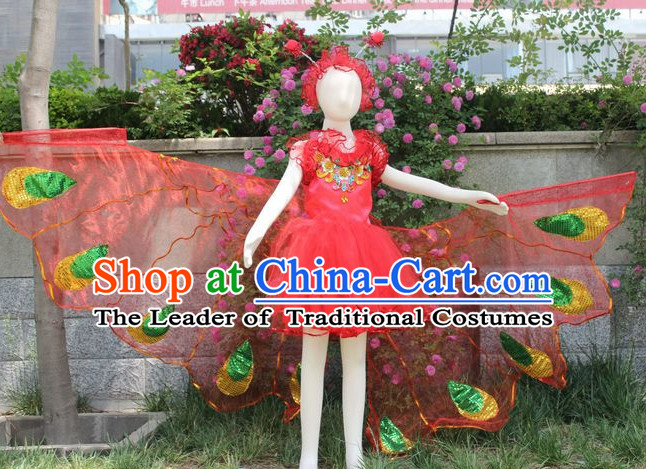 Stage Performance Butterfly Dance Costumes and Headwear Complete Set for Women Girls