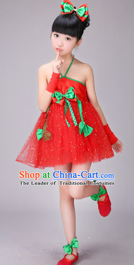 Chinese Stage Dance Costume Ribbon Dance Costumes Fan Dance Dancer Dancing Dresses for Kids