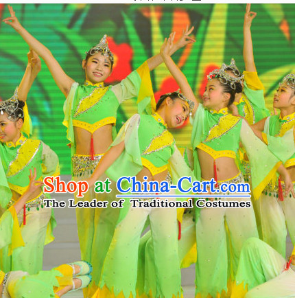 Chinese Stage Dance Costume Dance Costumes Fan Dance Umbrella Ribbon Fans Dance Fan Water Sleeve Costume for Children Girls