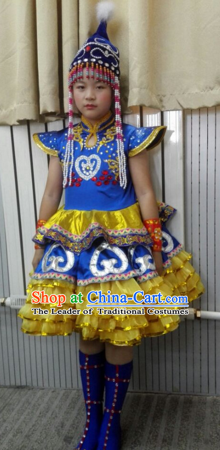 Chinese Stage Minority Dance Costume Dance Costumes Fan Dance Umbrella Ribbon Fans Dance Fan Water Sleeve Costume for Children Girls