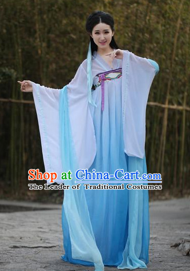 Ancient Chinese Women Dresses Blue Hanfu Girls China Classical Clothing Histroical Dress Traditional National Costume Complete Set