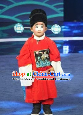 Ancient Chinese Children Opera Costumes Peking Opera Official Costume Historical Dress Traditional National Costume and Hat Complete Set