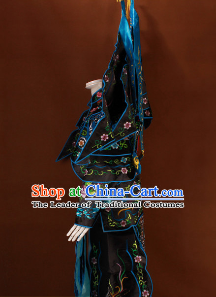 Black China Beijing Opera Chinese Peking Opera Costume Embroidered Robe Hua Military General Dan Opera Costumes Complete Set
