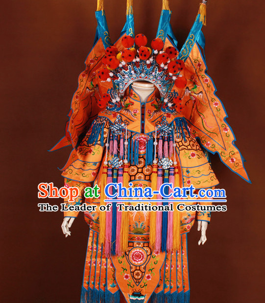 White China Beijing Opera Chinese Peking Opera Costume Embroidered Robe Hua Military General Dan Opera Costumes Complete Set