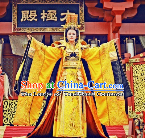 Top China Emperor Wu Ze Tian Embroidered Robe Dragon Costumes Complete Set