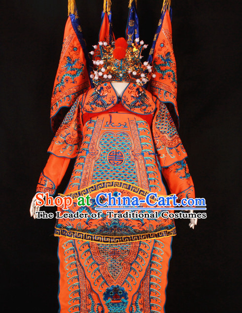Orange China Beijing Opera Chinese Peking Opera Costume Embroidered Robe Military General Opera Costumes Complete Set