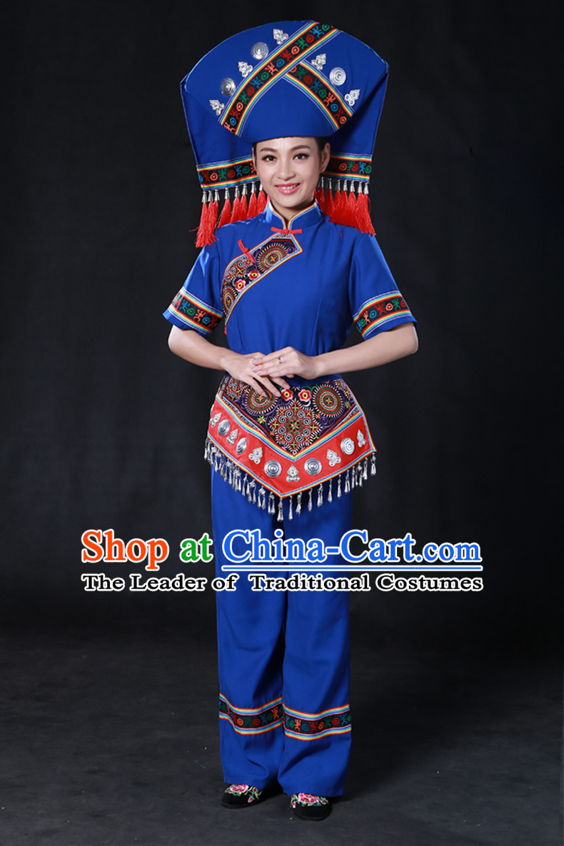 Chinese Zhuang Minority Women Dresses Ethnic Clothing Minority Dance Costume Minority Dress Complete Set for Women