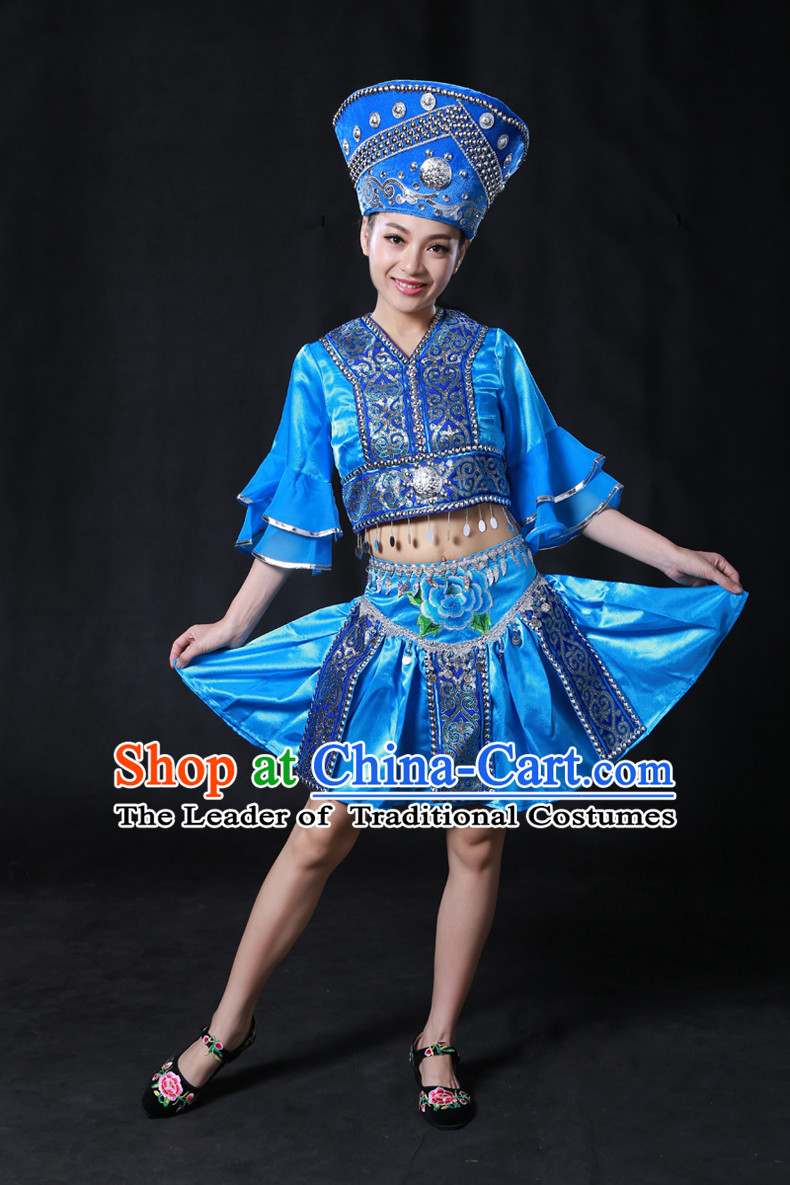 Chinese Yi Minority Women Dresses Ethnic Clothing Minority Dance Costume Minority Dress Complete Set