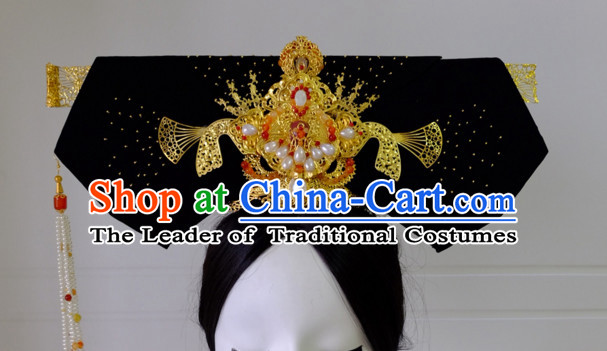 Chinese Qing Dynasty Traditional Empress Headwear Princess Headdress Imperial Hairpiece Palace Hair Ornaments Royal Head Pieces Set