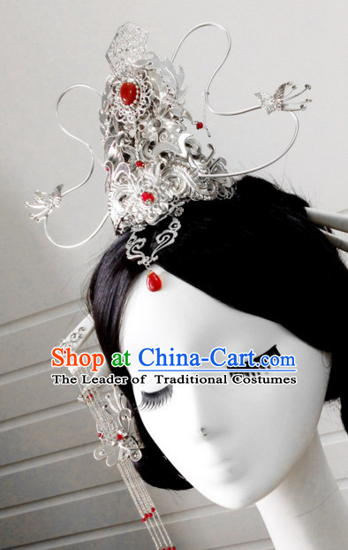 Chinese wig wedding hat emperor crown rings hair stick qing hat Chinese headdress hairpiece