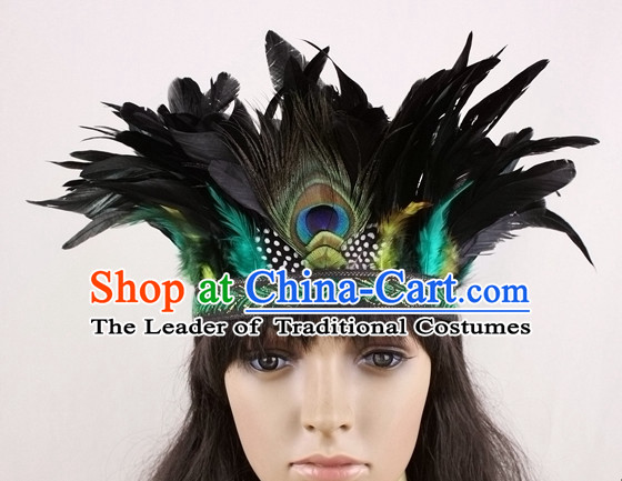 Handmade Peacock Feather Hair Pin Hair Accessory Headwear Hair Accessorie Head Dress Head Piece Jewel Hat Set