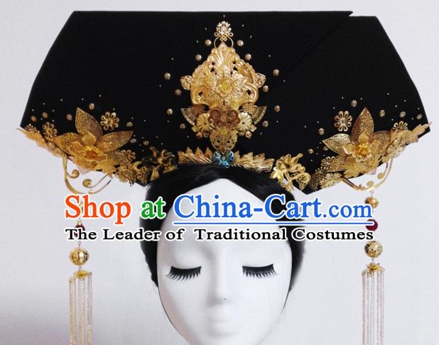 Chinese Traditional Qing Empress Headwear Princess Headdress Imperial Hairpiece Palace Hair Ornaments Royal Head Pieces Set