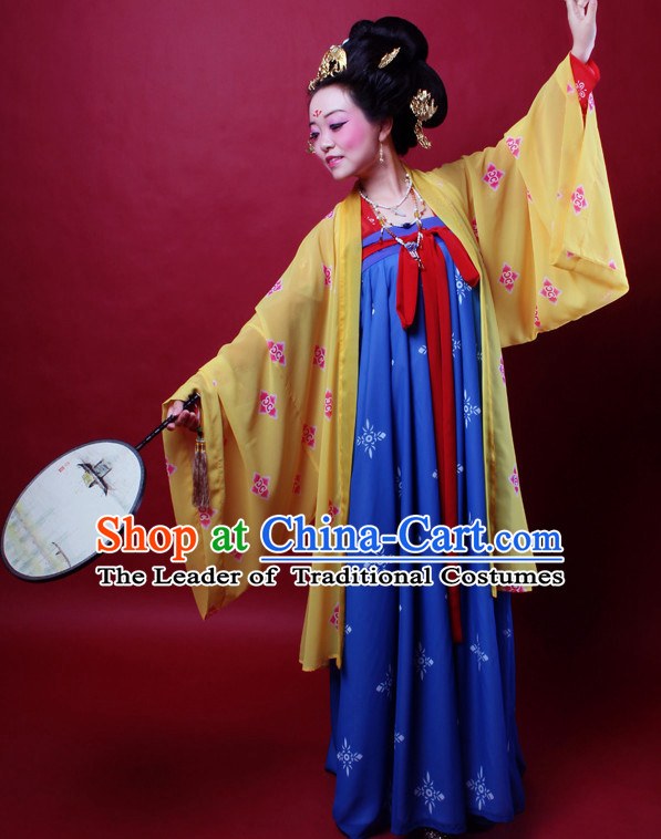 Ancient Chinese Tang Dynasty Princess Hanfu Costumes and Hair Jewelry Complete Set for Women