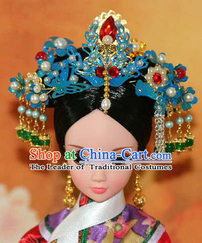 Traditional Chinese Qing Empress Headpiece Princess Headdress Palace Hair Decorations Royal Hair Sticks Head Gear Hair Decoration Set