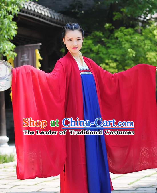 Red Blue Ancient Chinese Tang Dynasty Dresses Hanfu Wedding Clothing Hanbok Kimono Complete Set for Women