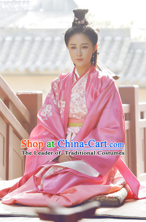 Pink Ancient Chinese Aristocrat Clothing and Headpieces Complete Set for Women Girls
