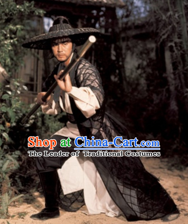 Chinese Ancient Swordsman Clothing Knight Costumes and Bamboo Hat Complete Set for Men