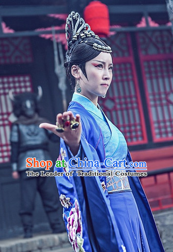 Top Chinese Ancient Tie Shan Princess Costumes and Headwear Complete Set for Women
