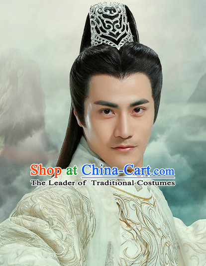 Ancient Chinese Superhero Knight Hair Hat Wig Hair Accessories Headpiece Headdress for Men