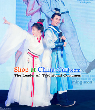 Ancient Chinese Swordsman and Swordswoman Clothes Costumes Clothing and Hair Accessories 2 Complete Sets for Men and Women