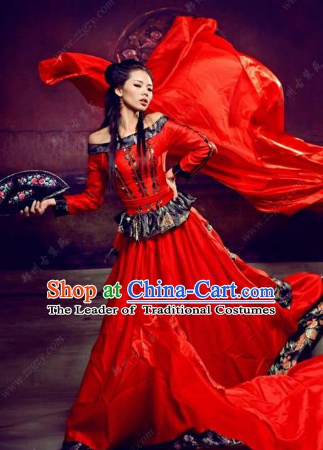Chinese Classical Red Hanfu Clothes Costumes Clothing Complete Set for Women