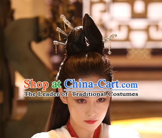 Ancient Chinese Black Long Wigs and Head Jewelry for Women