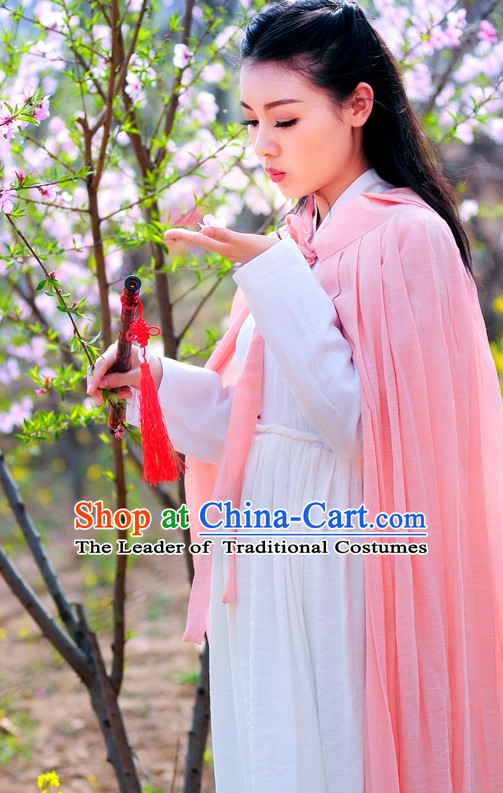 Traditional Chinese Stage Hanfu Costume Opera Historical Dresses and Mantle Complete Set for Women Girls