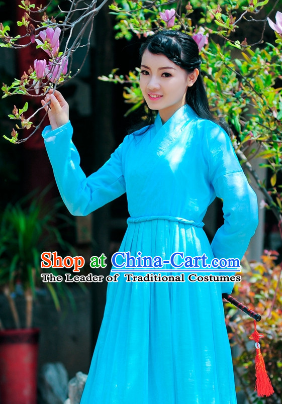 Blue Traditional Chinese Stage Hanfu Costume Opera Historical Dress Complete Set for Women Girls