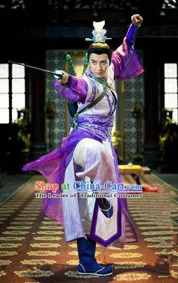 Traditional Chinese Costume Chinese Ancient Swordsmen Dress, Ming Dynasty Swordsmen Costume for Men