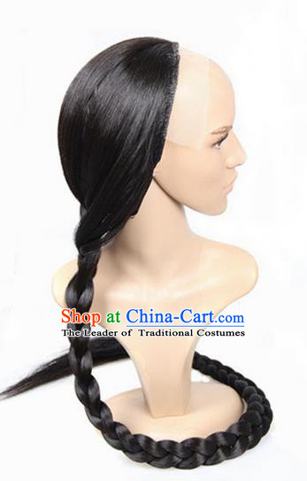 Chinese Ancient Swordsman Long Wig Set, Traditional Chinese Qing Dynasty Wig Hoods for Men