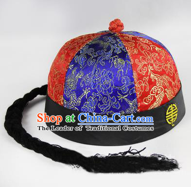 Chinese Ancient Swordsman Long Wig Set, Traditional Chinese Qing Dynasty Hats Wig Hoods for Men