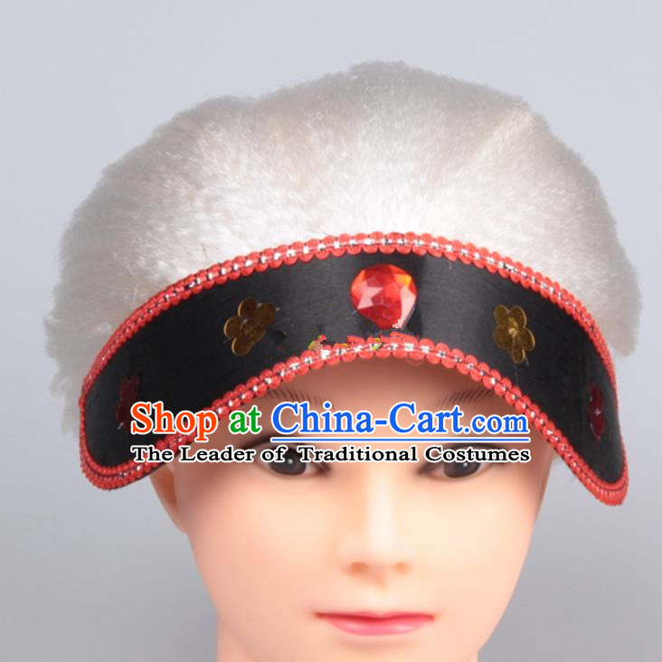 Chinese Ancient Opera Old Women Long Wig Set, Traditional Chinese Han Dynasty Hats Wig Hoods for Women