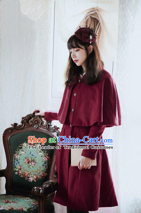 Traditional Classic Women Clothing, Traditional Classic British Restoring Ancient Ways Cape Coat Woolen Dust Coat for Women