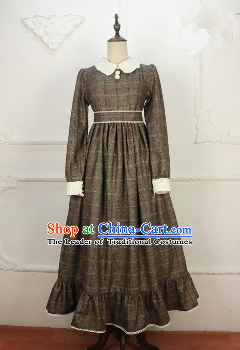 Traditional Classic Women Clothing, Traditional Classic Woolen Dress, British Restoring Ancient High Waiet Wool One-Piece Skirt for Women