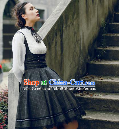 Traditional Classic Women Clothing, Traditional Classic Woolen One-piece Dress, British Restoring Ancient Vest Wool Long Skirt for Women