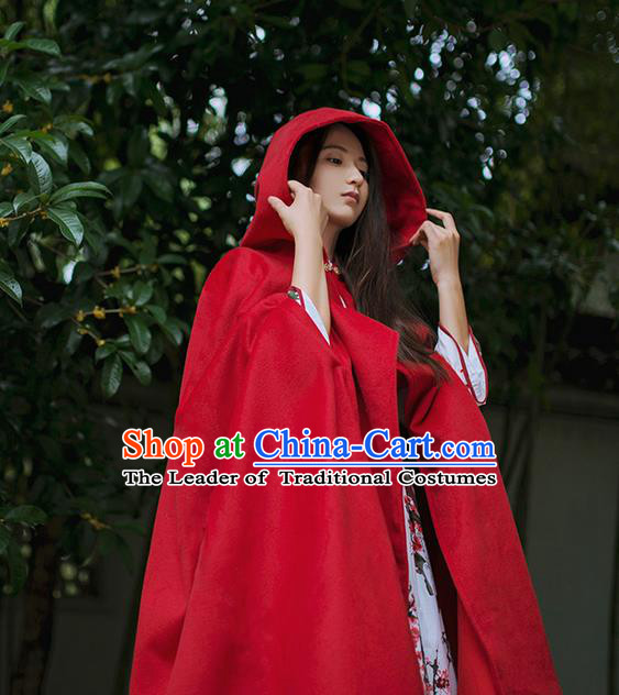 Traditional Classic Women Clothing, Traditional Classic Palace Wool Long Cape for Women