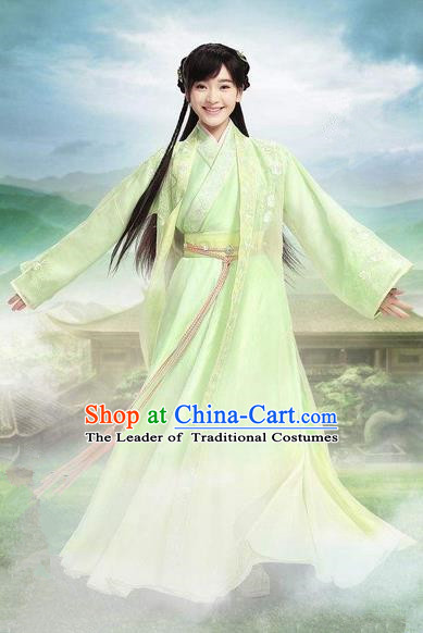 Traditional Chinese Ancient Costumes, Chinese Young Girls Clothing, Ancient Chinese Cosplay Princess Costume Complete Set for Women