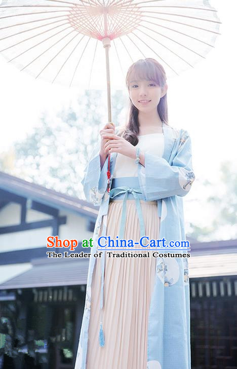 Traditional Japanese Restoring Ancient Kimono Costume, China Kimono Pleated Skirt Chiffon Long Dress for Women