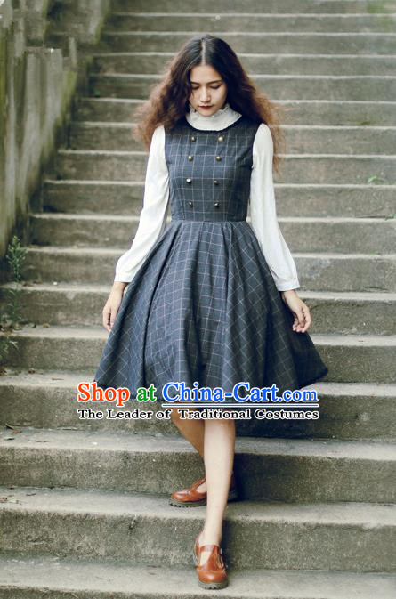 Traditional Classic Elegant Women Costume Woolen Sundress, Restoring Ancient Gothic Princess Wool Jumper Skirt for Women